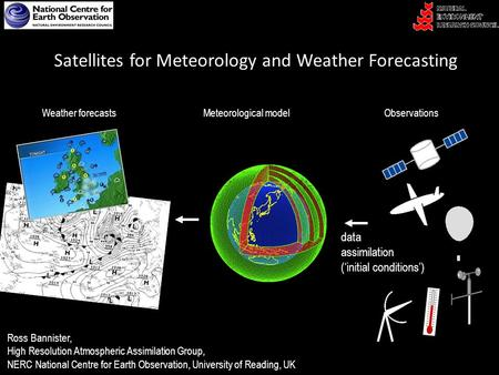 Satellites for Meteorology and Weather Forecasting Ross Bannister, High Resolution Atmospheric Assimilation Group, NERC National Centre for Earth Observation,