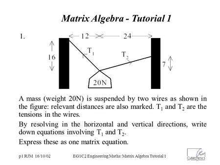 P1 RJM 16/10/02EG1C2 Engineering Maths: Matrix Algebra Tutorial 1 A mass (weight 20N) is suspended by two wires as shown in the figure: relevant distances.
