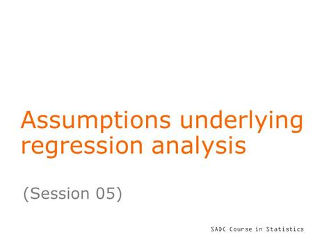 Assumptions underlying regression analysis