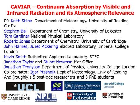 CAVIAR – Continuum Absorption by Visible and Infrared Radiation and its Atmospheric Relevance PI: Keith Shine Department of Meteorology, University of.