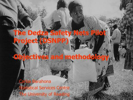 The Dedza Safety Nets Pilot Project (DSNPP) Objectives and methodology Carlos Barahona Statistical Services Centre The University of Reading.