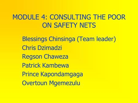 MODULE 4: CONSULTING THE POOR ON SAFETY NETS Blessings Chinsinga (Team leader) Chris Dzimadzi Regson Chaweza Patrick Kambewa Prince Kapondamgaga Overtoun.