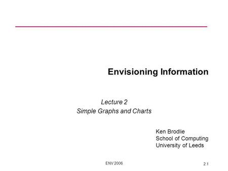 ENV 2006 2.1 Envisioning Information Lecture 2 Simple Graphs and Charts Ken Brodlie School of Computing University of Leeds.