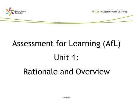 Assessment for Learning (AfL) Unit 1: Rationale and Overview