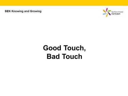 Good Touch, Bad Touch SEN Knowing and Growing. Good touch Bad touch Mayer Johnson PCS Symbols © Mayer Johnston LLC (contact Widgit Software www.widgit.com)