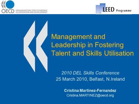 Management and Leadership in Fostering Talent and Skills Utilisation 2010 DEL Skills Conference 25 March 2010, Belfast, N.Ireland Cristina Martinez-Fernandez.