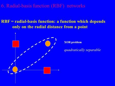 6. Radial-basis function (RBF) networks RBF = radial-basis function: a function which depends only on the radial distance from a point XOR problem quadratically.