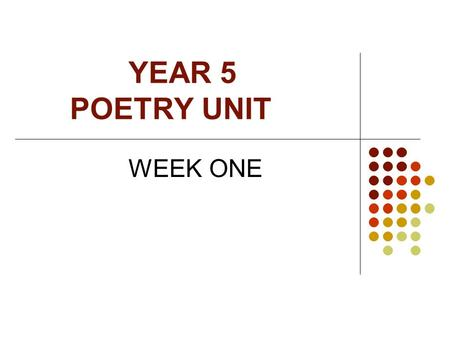 YEAR 5 POETRY UNIT WEEK ONE During todays lesson We will: Review our previous learning – by showing we recognise the features of this style of poetry.