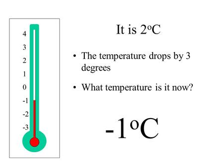 4 3 2 1 0 -2 -3 It is 2 o C The temperature drops by 3 degrees What temperature is it now? -1 o C.
