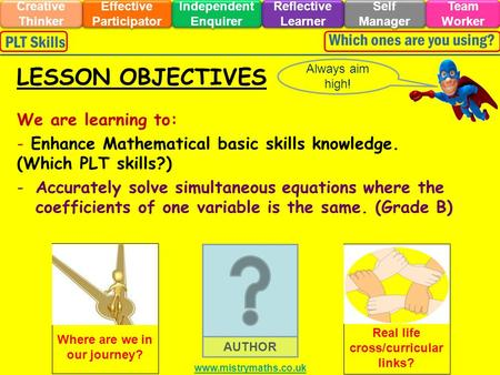 We are learning to: - Enhance Mathematical basic skills knowledge. (Which PLT skills?) -Accurately solve simultaneous equations where the coefficients.