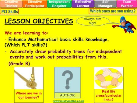 We are learning to: - Enhance Mathematical basic skills knowledge. (Which PLT skills?) -Accurately draw probability trees for independent events and work.