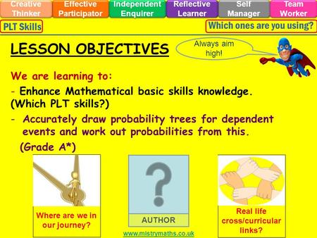 We are learning to: - Enhance Mathematical basic skills knowledge. (Which PLT skills?) -Accurately draw probability trees for dependent events and work.