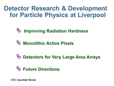 2001 December Review Detector Research & Development for Particle Physics at Liverpool Improving Radiation Hardness Monolithic Active Pixels Detectors.