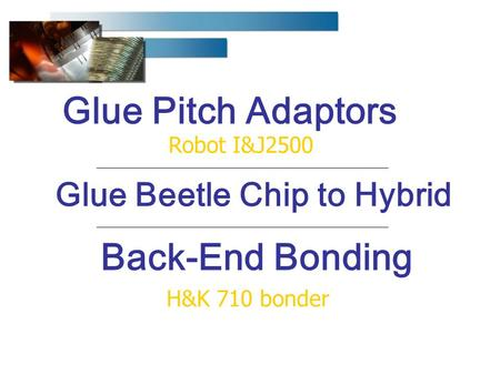 Back-End Bonding H&K 710 bonder Glue Pitch Adaptors Robot I&J2500 Glue Beetle Chip to Hybrid.