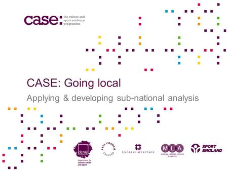 CASE: Going local Applying & developing sub-national analysis.