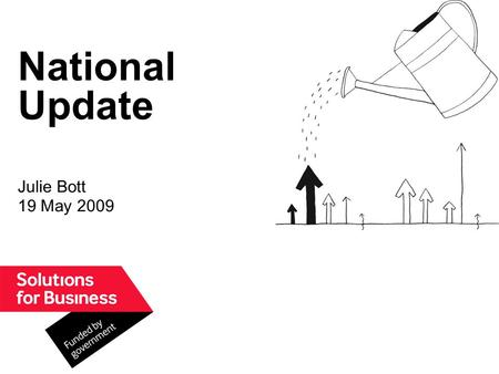 National Update Julie Bott 19 May 2009. Whats happened so far… The Solutions for Business (SfB) portfolio of 30 products announced by Lord Mandelson on.