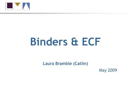 Binders & ECF Laura Bramble (Catlin) May 2009. Binders and ECF What is in scope? What is out of scope? Co-lead claims 60 – 80% of binder contracts.