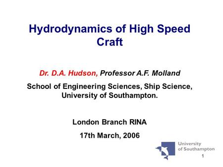 Hydrodynamics of High Speed Craft
