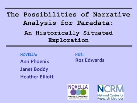 The Possibilities of Narrative Analysis for Paradata: An Historically Situated Exploration NOVELLA: Ann Phoenix Janet Boddy Heather Elliott HUB: Ros Edwards.