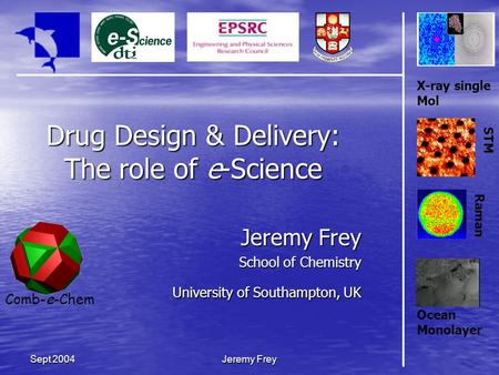 Comb-e-Chem Jeremy Frey Sept 2004 Drug Design & Delivery: The role of e-Science Jeremy Frey School of Chemistry University of Southampton, UK X-ray single.