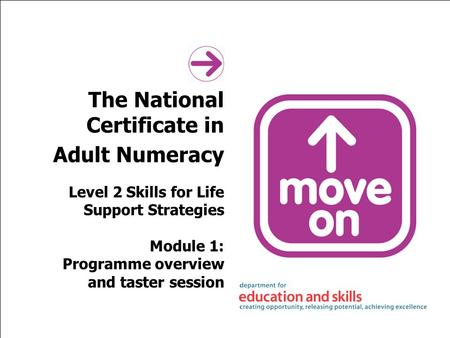 The National Certificate in Adult Numeracy Level 2 Skills for Life Support Strategies Module 1: Programme overview and taster session.