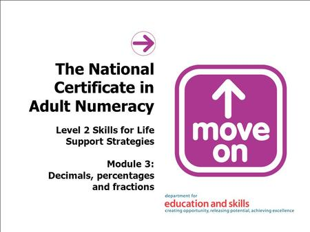 The National Certificate in Adult Numeracy Level 2 Skills for Life Support Strategies Module 3: Decimals, percentages and fractions.