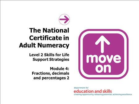 The National Certificate in Adult Numeracy Level 2 Skills for Life Support Strategies Module 4: Fractions, decimals and percentages 2.