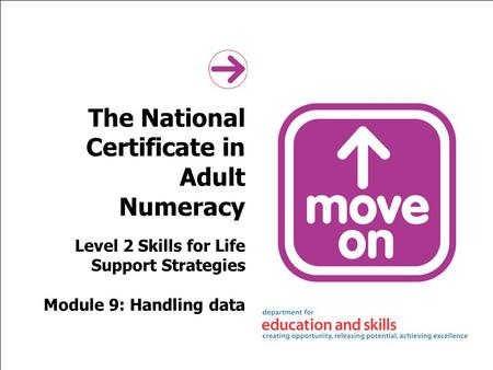 The National Certificate in Adult Numeracy Level 2 Skills for Life Support Strategies Module 9: Handling data.