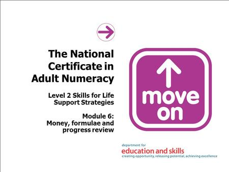 The National Certificate in Adult Numeracy Level 2 Skills for Life Support Strategies Module 6: Money, formulae and progress review.