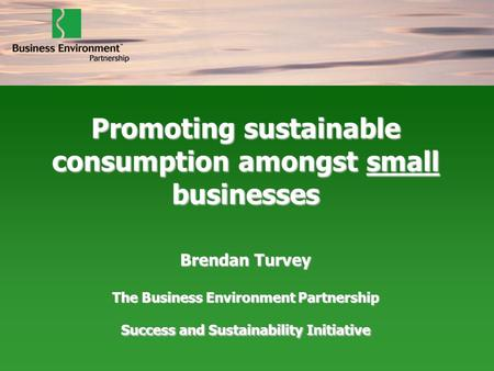 Promoting sustainable consumption amongst small businesses Brendan Turvey The Business Environment Partnership Success and Sustainability Initiative.