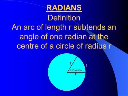 RADIANS Definition An arc of length r subtends an angle of one radian at the centre of a circle of radius r r r r Ø=1radian.