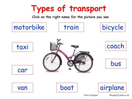 Franco Dognini coach Types of transport Click on the right name for the picture you see bus taxi car motorbike vanairplaneboat bicycletrain.
