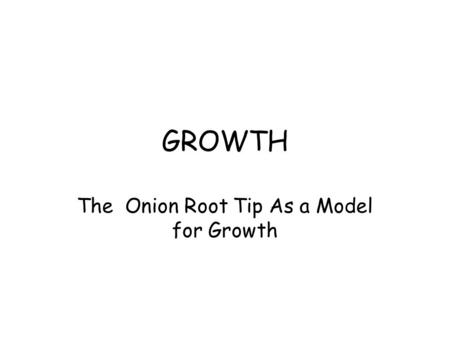 The Onion Root Tip As a Model for Growth