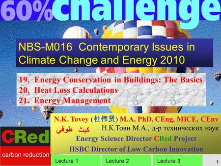 1 NBS-M016 Contemporary Issues in Climate Change and Energy 2010 19. Energy Conservation in Buildings: The Basics 20. Heat Loss Calculations 21. Energy.