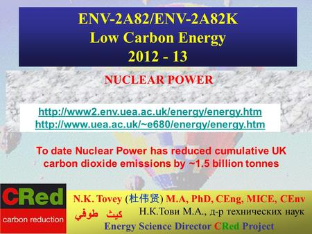 1 24/04/2014 ENV-2A82/ENV-2A82K Low Carbon Energy 2012 - 13 NUCLEAR POWER N.K. Tovey ( ) M.A, PhD, CEng, MICE, CEnv Н.К.Тови М.А., д-р технических наук.