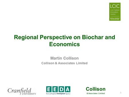Collison & Associates Limited Regional Perspective on Biochar and Economics Martin Collison Collison & Associates Limited 1.