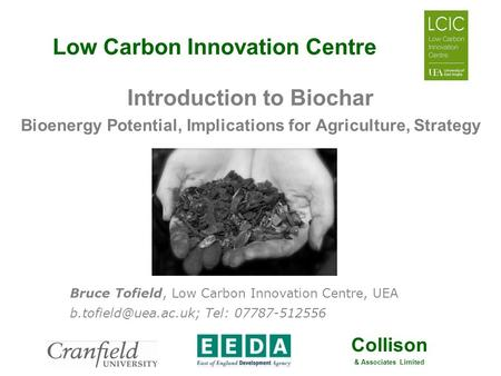 Collison & Associates Limited Low Carbon Innovation Centre Introduction to Biochar Bioenergy Potential, Implications for Agriculture, Strategy Bruce Tofield,
