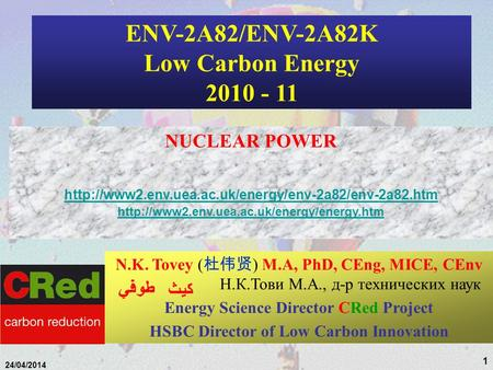 1 24/04/2014 ENV-2A82/ENV-2A82K Low Carbon Energy 2010 - 11 NUCLEAR POWER