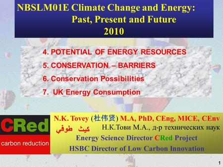 1 4. POTENTIAL OF ENERGY RESOURCES 5. CONSERVATION – BARRIERS 6. Conservation Possibilities 7. UK Energy Consumption N.K. Tovey ( ) M.A, PhD, CEng, MICE,