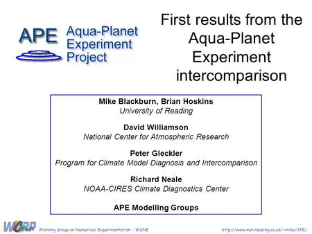 First results from the Aqua-Planet Experiment intercomparison Mike Blackburn, Brian Hoskins University of Reading David Williamson National Center for.