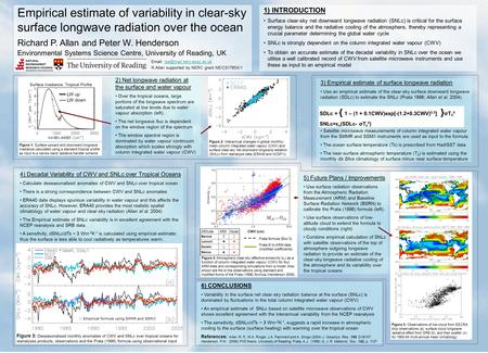3) Empirical estimate of surface longwave radiation Use an empirical estimate of the clear-sky surface downward longwave radiation (SDLc) to estimate the.