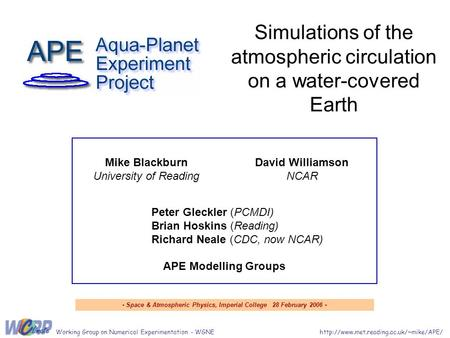 Simulations of the atmospheric circulation on a water-covered Earth  Group on Numerical Experimentation -
