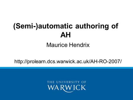 Maurice Hendrix  (Semi-)automatic authoring of AH.