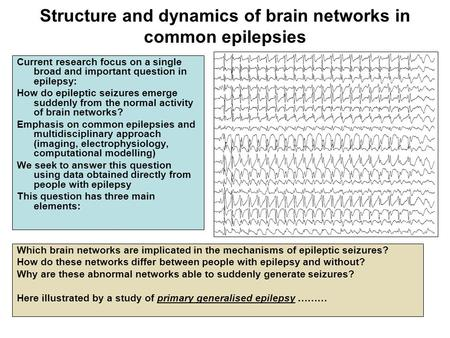 Structure and dynamics of brain networks in common epilepsies Current research focus on a single broad and important question in epilepsy: How do epileptic.