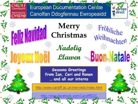 Merry Christmas Nadolig Llawen Seasons Greetings from Ian, Ceri and Ronen … and all our interns