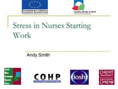 Stress in Nurses Starting Work Andy Smith. Healthy Minds at Work: An ESF funded project.