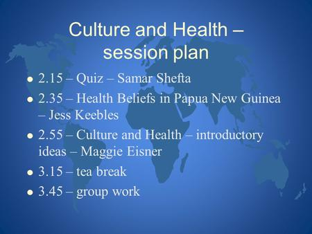 Culture and Health – session plan
