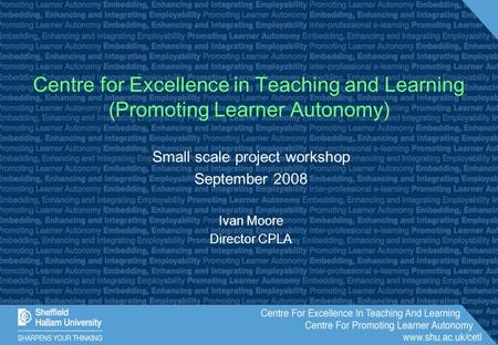Small scale project workshop September 2008 Ivan Moore Director CPLA Centre for Excellence in Teaching and Learning (Promoting Learner Autonomy)