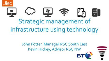Strategic management of infrastructure using technology John Potter, Manager RSC South East Kevin Hickey, Advisor RSC NW.