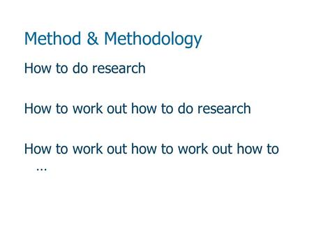 Method & Methodology How to do research How to work out how to do research How to work out how to work out how to …